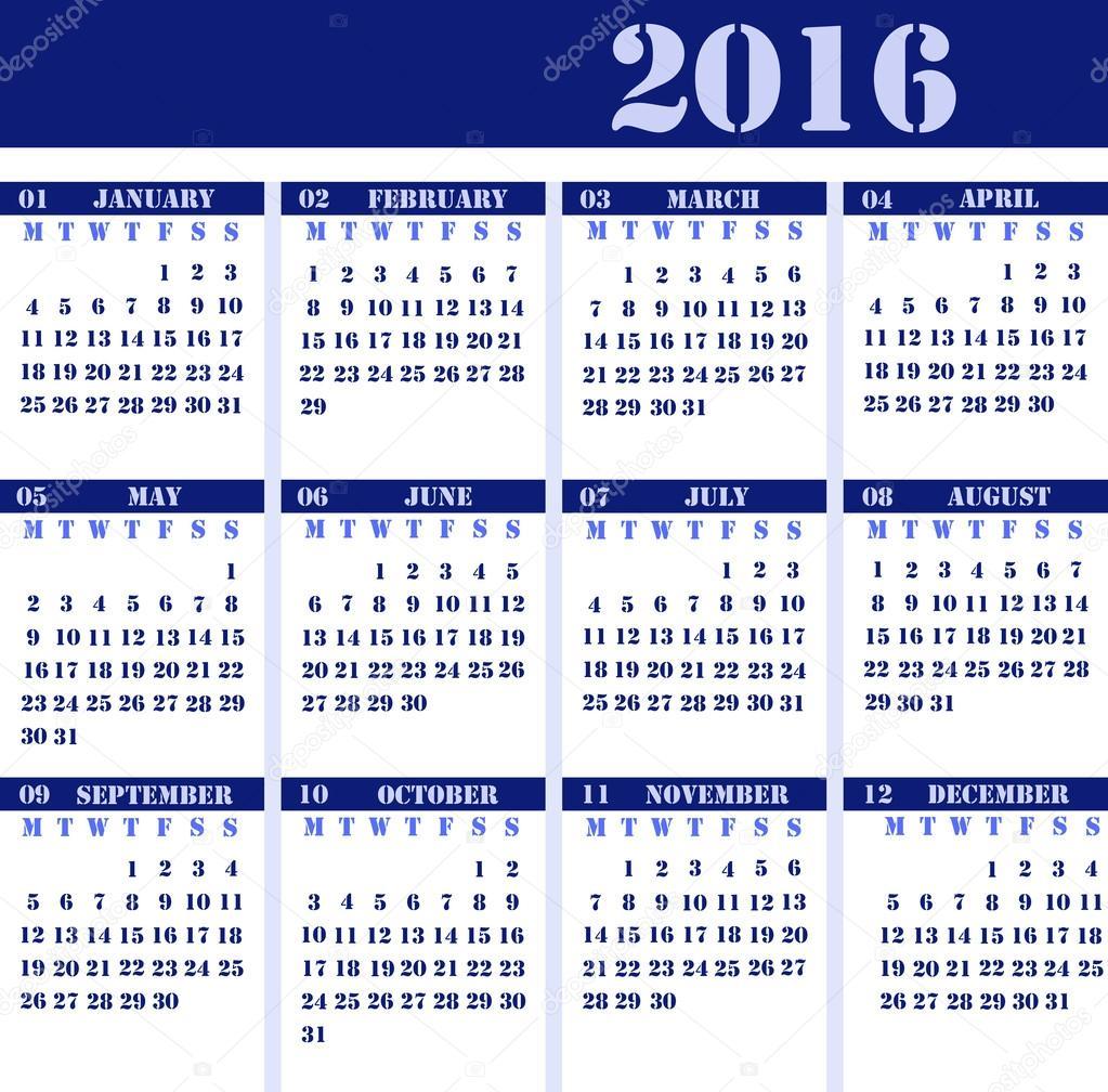 Home Design Editorial Calendar 2016: Calendario Para El Año 2016