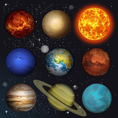 Vector illustration planets Solar system and sun on stars backgr