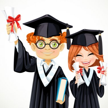 Happy smart students redhead boy in glasses and girl holding a d