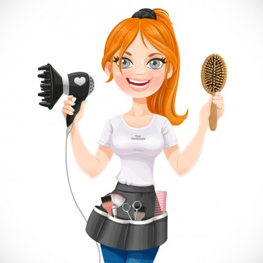 Cute redhead girl hairdresser with hair dryer and hairbrush isol