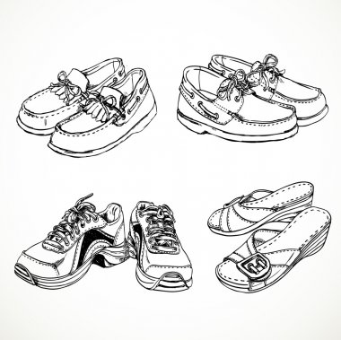 Sketch of shoes for men and women moccasins, sneakers, women's s