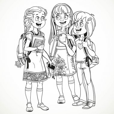 Three cute schoolgirl with a schoolbag socialize linear drawing