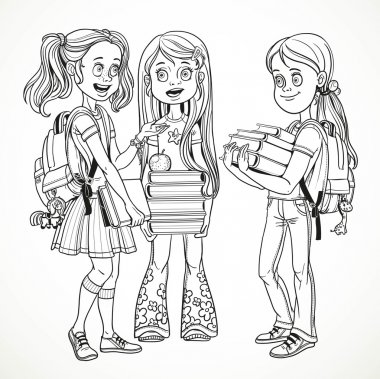 Company schoolgirl with textbooks and backpacks stand talking li