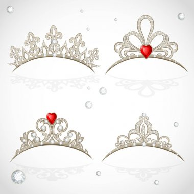Set openwork jewelry tiaras with diamonds and faceted red stones