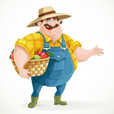 Fat farmer in overalls holding a basket of apples and shows the