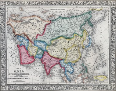 Antique map of Asia showing Political division