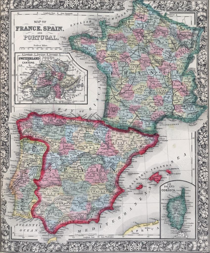 Map Of Spain And France Together.Antique Map Of Spain France And Portugal Stock Photo C Cascoly