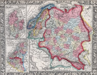 Antique map of Russia in Europe, Sweden, and Norway