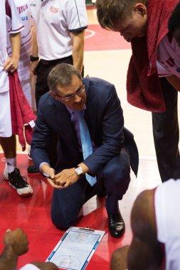 Head coach of BC Krasnye Krylia Sergey Bazarevich during a timeout