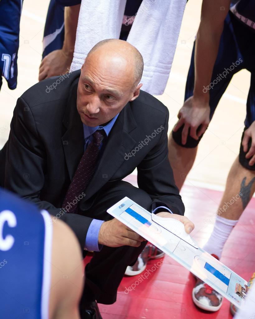 Head coach of BC Triumph Vasiliy Karasev during a timeout
