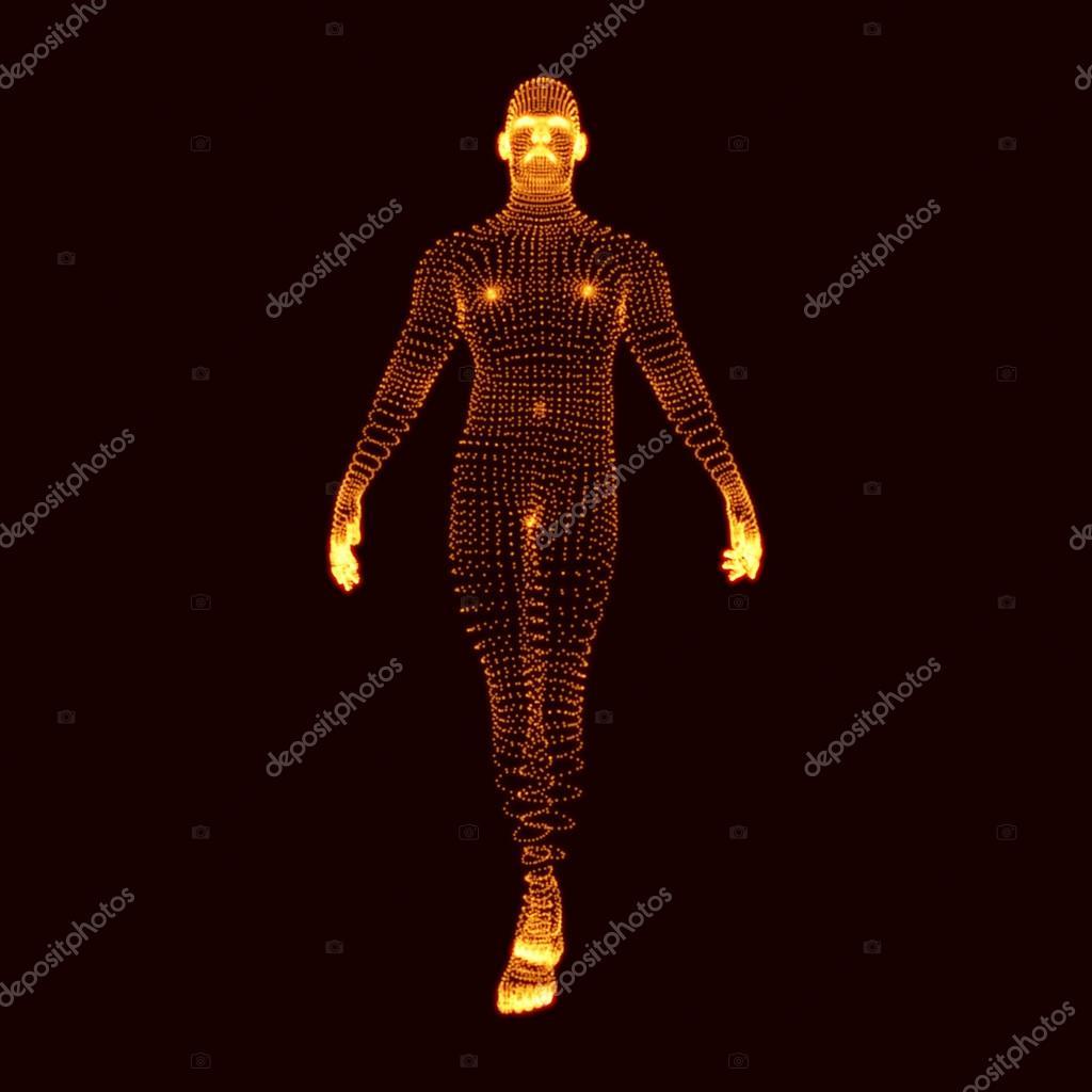 Hombre está parado sobre sus pies. modelo 3D del modelo del cuerpo ...