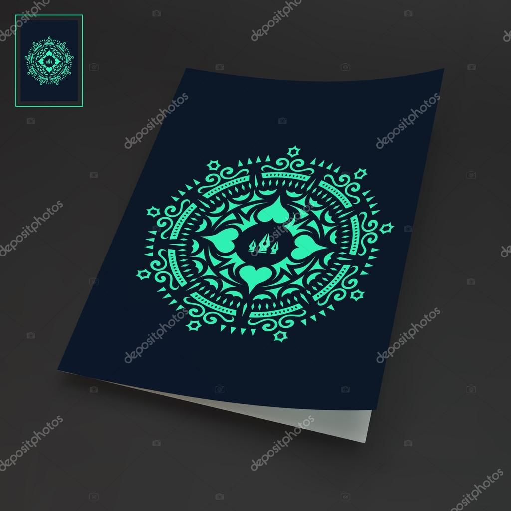 Notebook Cover Template Oriental Traditional Design Vector