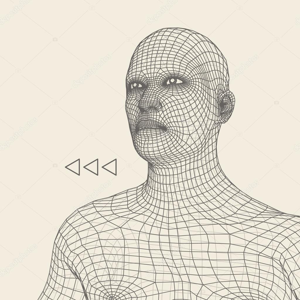 Kopf der Person aus einem 3d Raster. Menschlicher Kopf Draht Modell ...