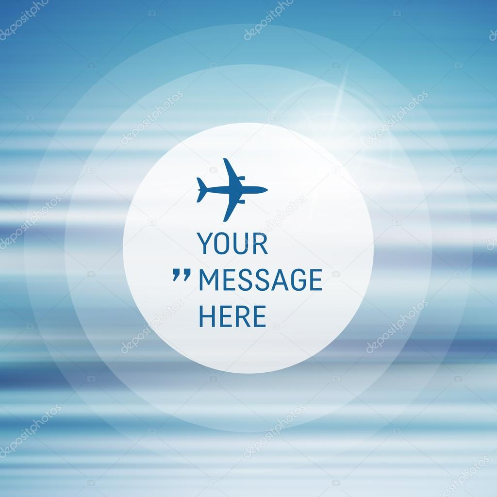 Abstract Background With Blue Sky And Clouds. Vector Frame With Airplane.  Circle With Place For Text. Vector Illustration. U2014 Vetor De Studiom1