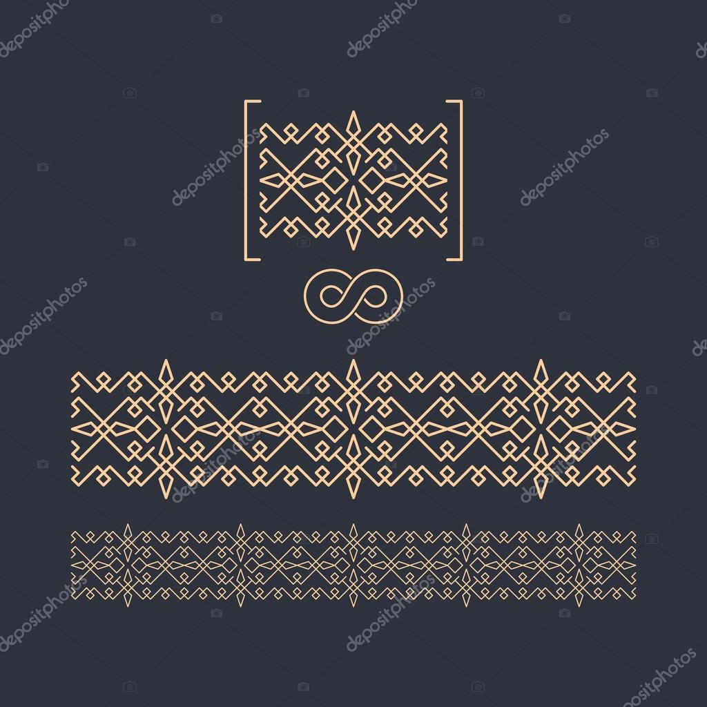 Vector border seamless pattern decorative element for design geometric border template on dark background figured border vector linear border for invitation card certificate vetor por studiom1 stopboris Images