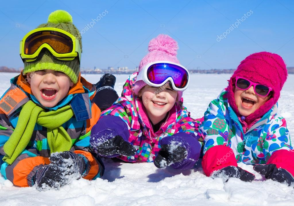 Children playing on snow