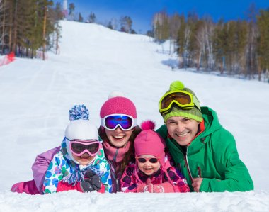 Family on ski resort