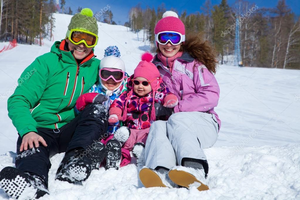 Family on ski resort