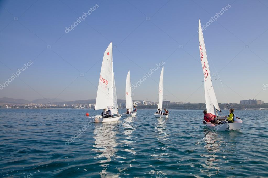 Competition of young sailors on the Regatta