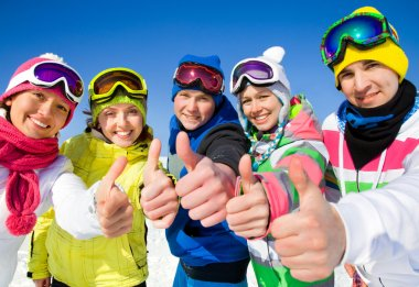Company of friends on ski holiday