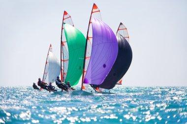sailing team on  regatta in sea