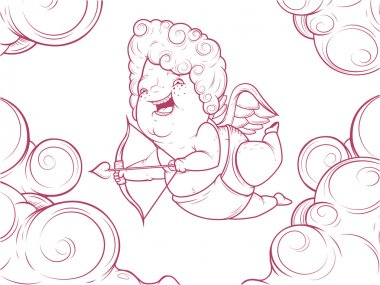 Contour illustration of funny cupid in the clouds