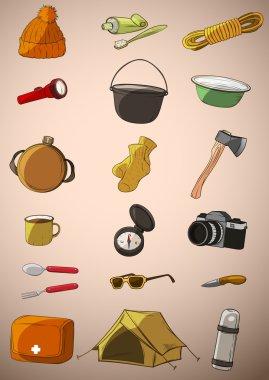 Set of twenty things travel