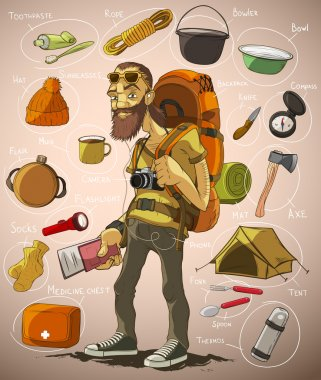 Traveler and a set of things for travel