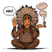 Náčelník indiánů. Izolovaný. Barevný
