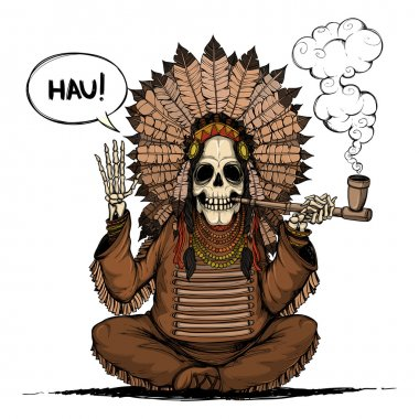Skeleton Indians chieftain. Colored and isolated