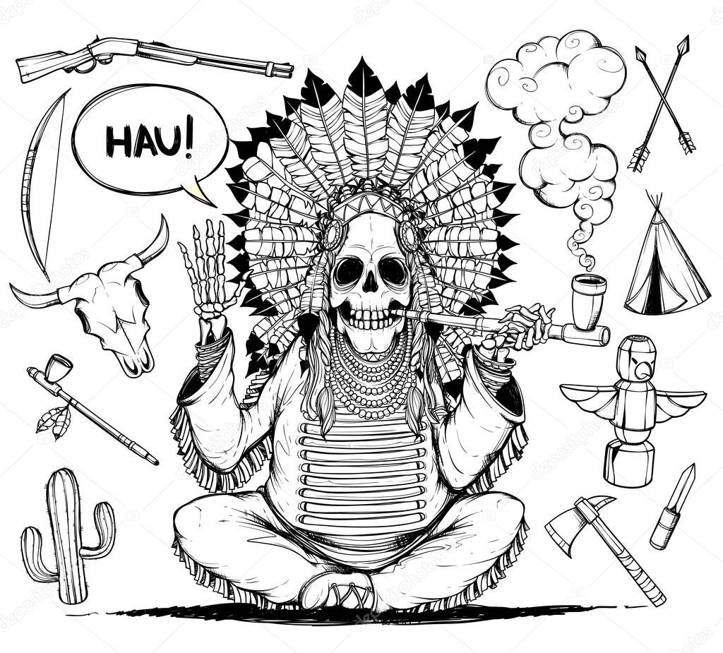 Imágenes Cacique Negro Cacique De Indios Esqueleto Y Objetos