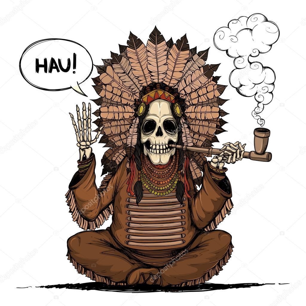 Cacique de indios esqueleto. Color y aisladas — Vector de stock ...