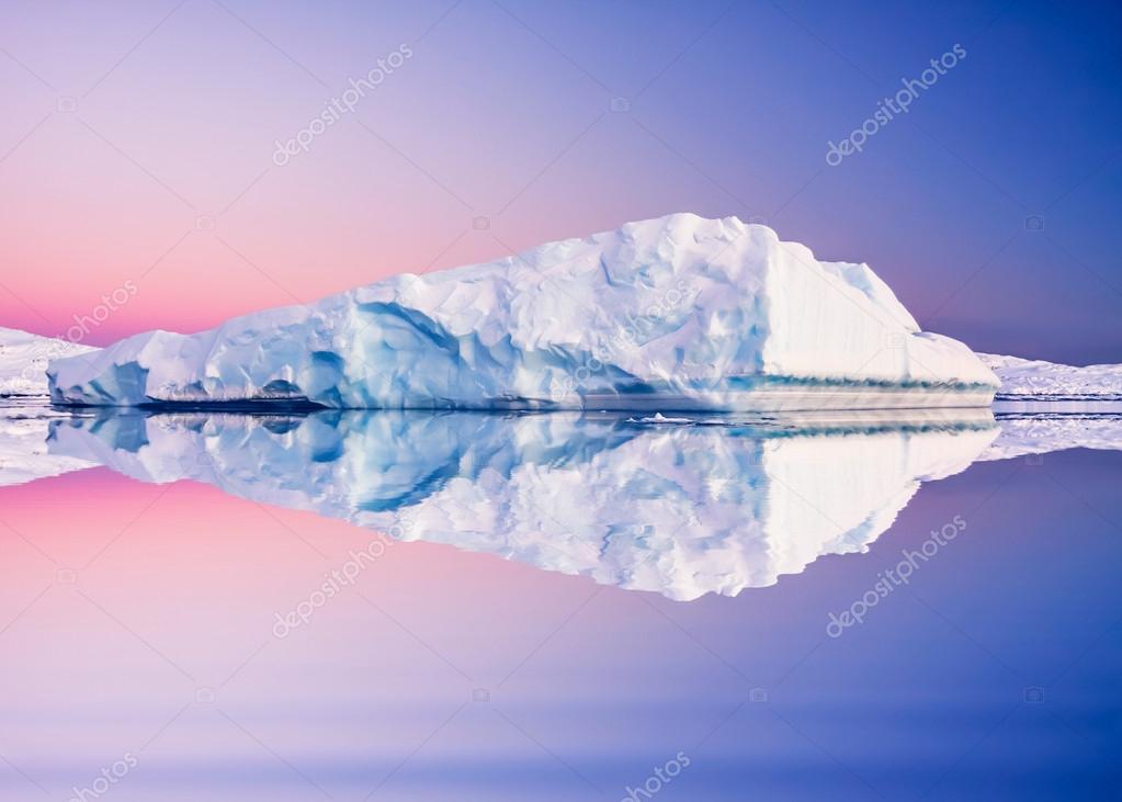 Antarctic glacier in snow