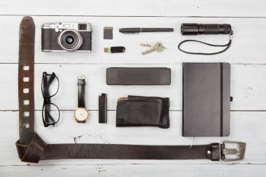 Travel,vacation  concept - set of cool stuff with camera and oth