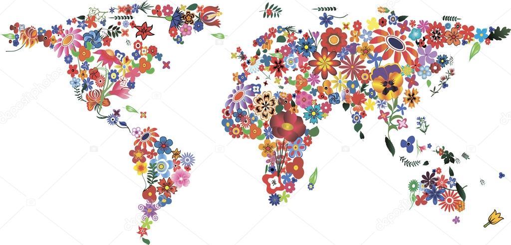 Carte du monde fleur — Image vectorielle sonechko © #65990805