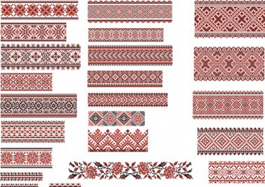 Patterns for Embroidery Stitch, Red and Black