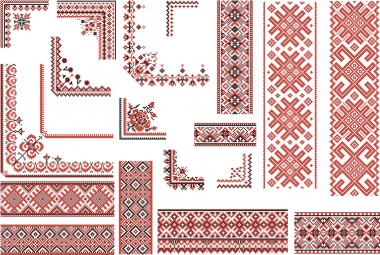 Red and Black Patterns for Embroidery Stitch