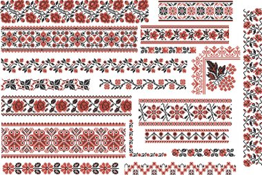 Floral Red and Black Patterns for Embroidery Stitch