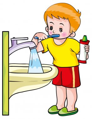 Boy washing teeth