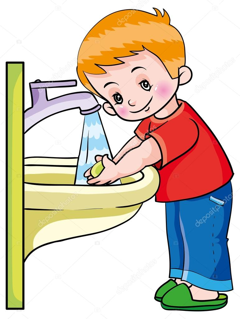 Hygiene. boy washing hands — Stock Vector © Kopirin #58287311