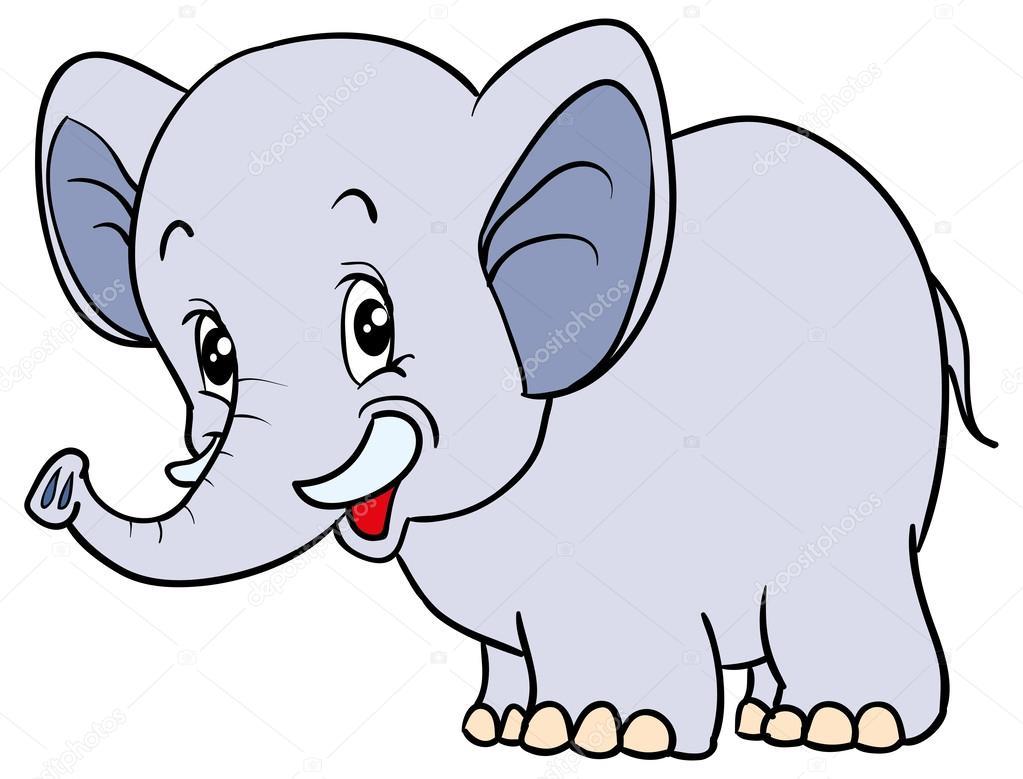 elefante azul de dibujos animados — Archivo Imágenes ...