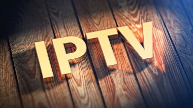 Acronym IPTV on wood planks