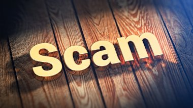 Word Scam on wood planks