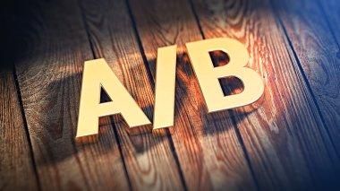 Acronym A/B on wood planks