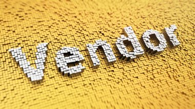 Pixelated word 'Vendor' made from cubes, mosaic pattern stock vector