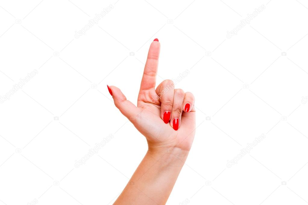 Hand indicating the number one