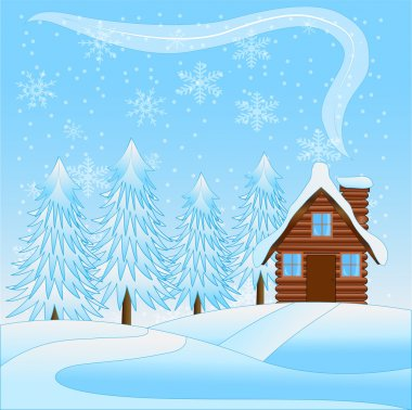 beautiful  winter landscape with a wooden house and snow-bound t