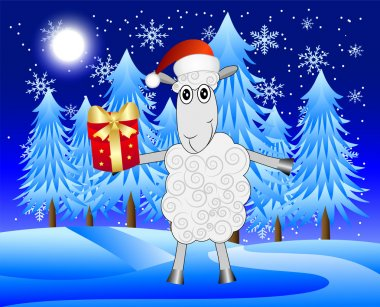 Merry sheep with a gift on a background night winter landscape