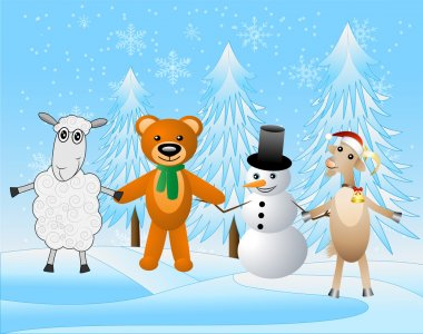snow man with beasts on a festive background