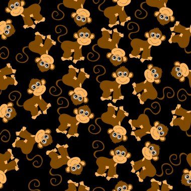 Seamless background with monkeys
